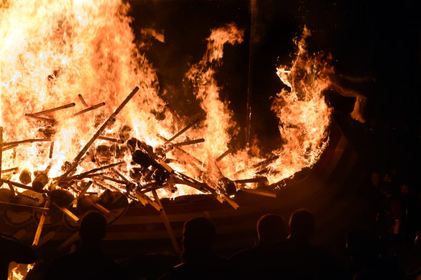 The burning of the galley at Up Helly Aa, Lerwick, Shetland.  Picture by Jim Irvine
