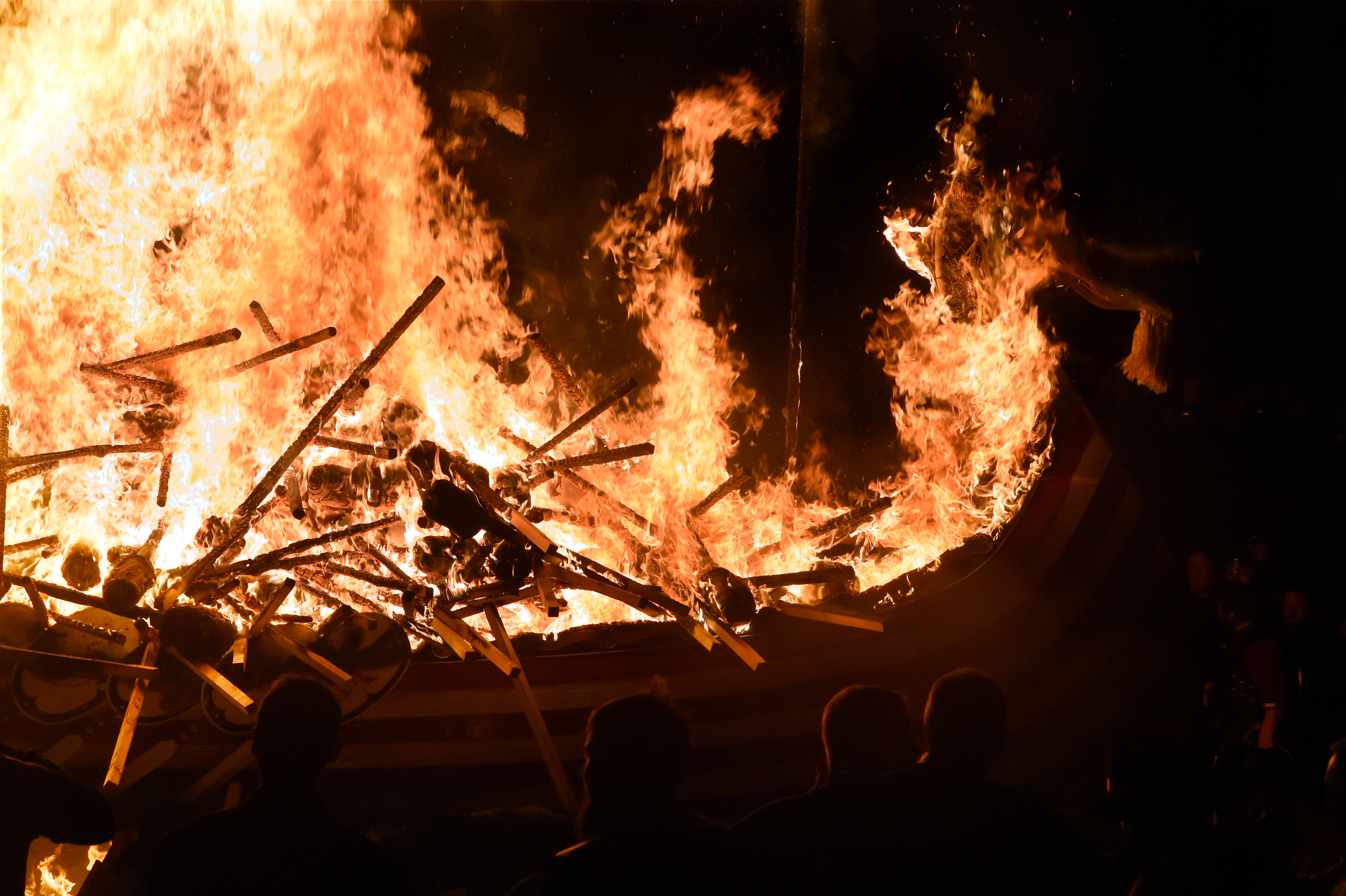The burning of the galley at Up Helly Aa, Lerwick, Shetland.