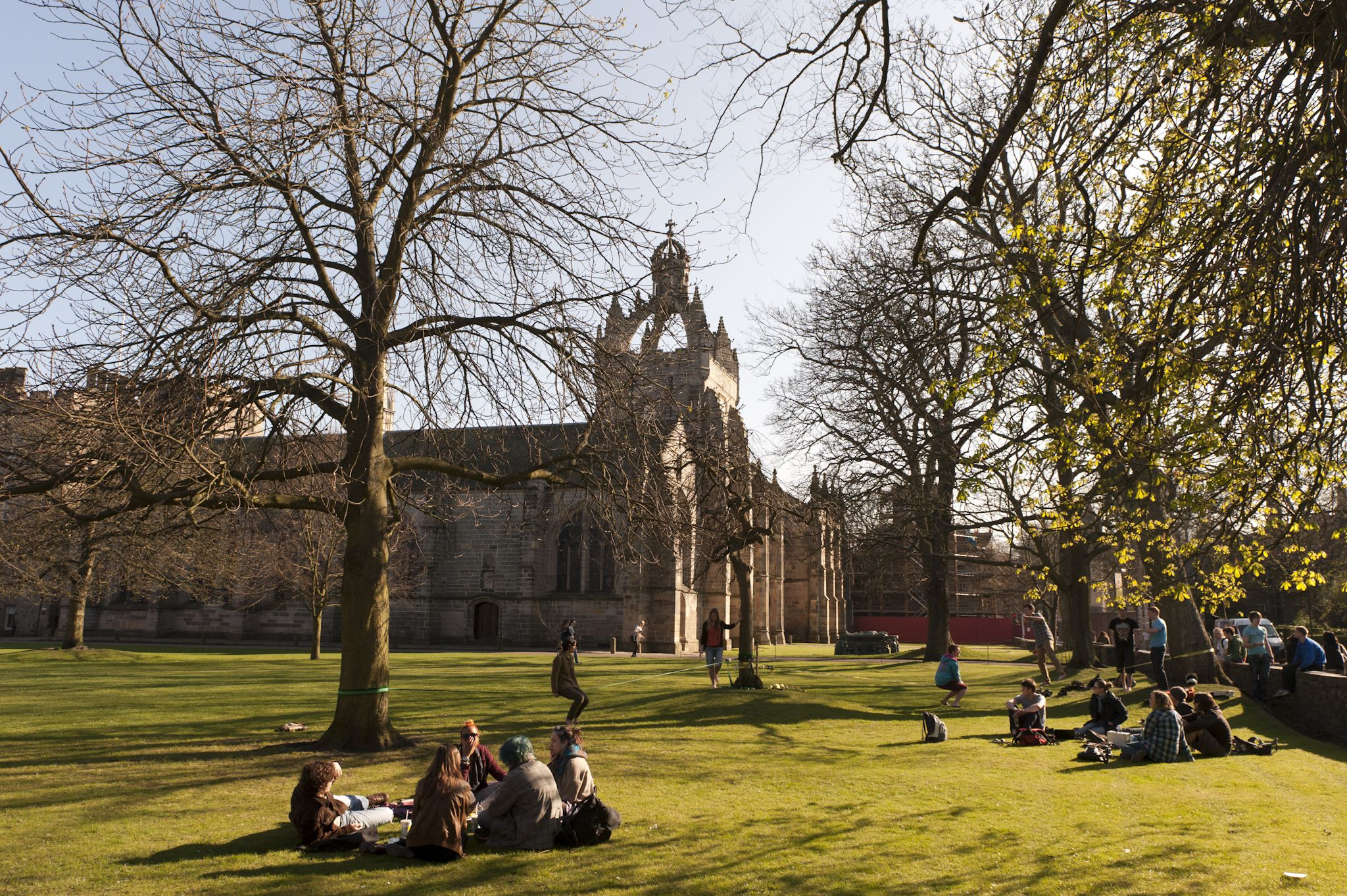 Students enjoying the sunshine at Kings College in Aberdeen.