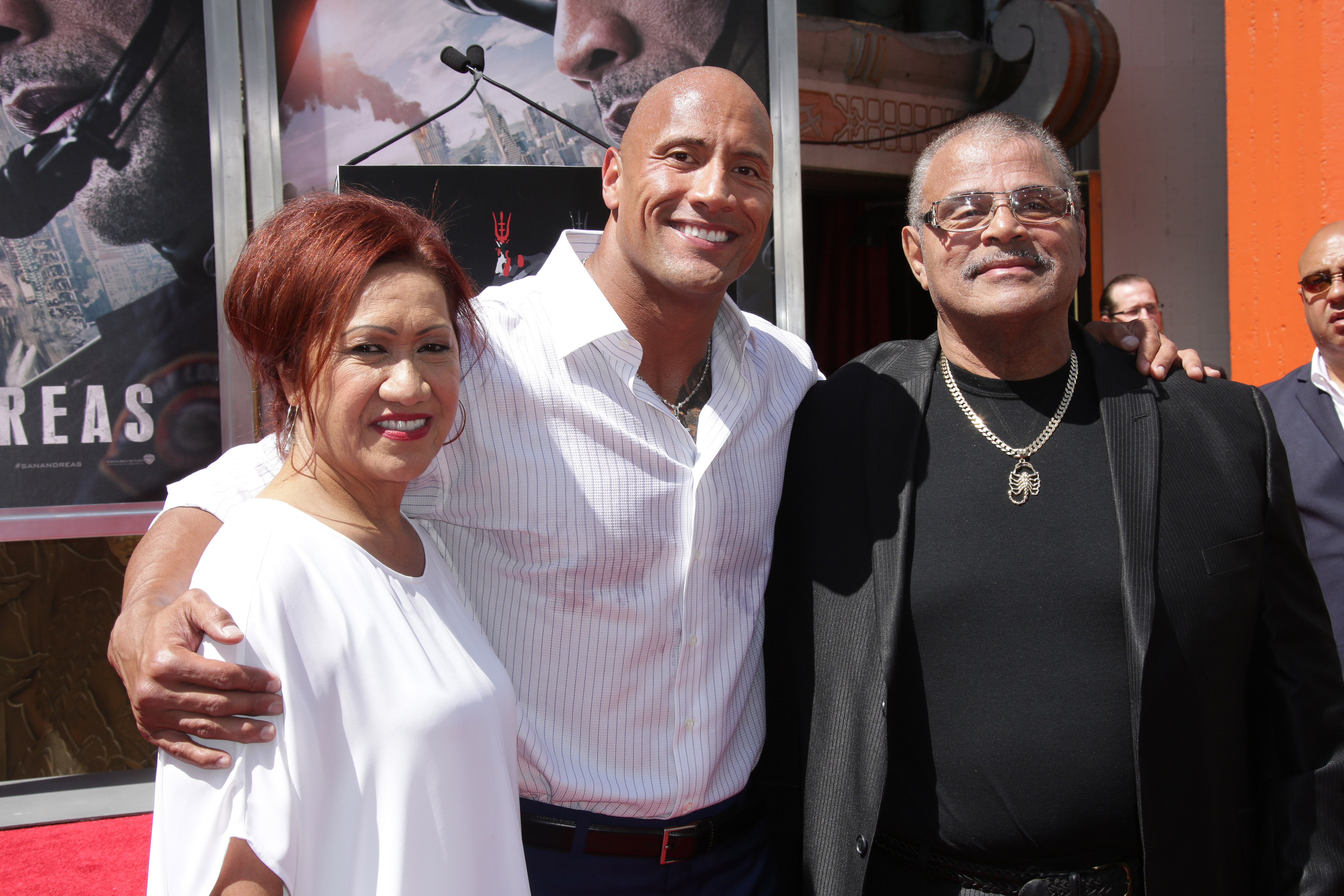 Mandatory Credit: Photo by Jim Smeal/BEI/Shutterstock (4779433aq) Dwayne Johnson with Parents Ata Johnson and Rocky Johnson Dwayne Johnson hand and footprint ceremony, Los Angeles, America - 19 May 2015