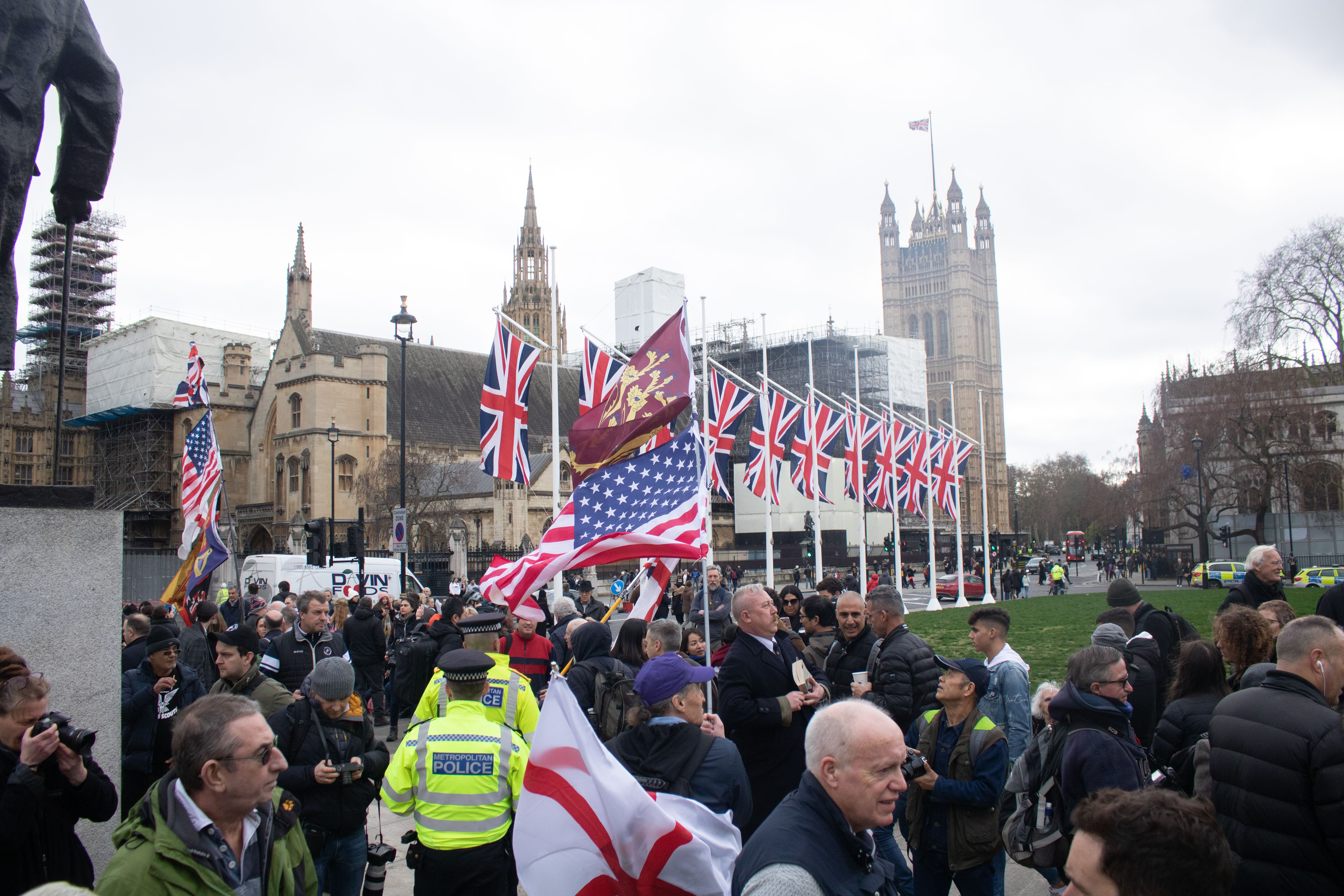 Brexit supporters gather in Parliament Square