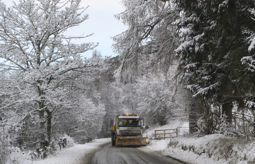 A snowplough on the B976 near Crathie, Aberdeenshire. Picture by Julia Sidell.