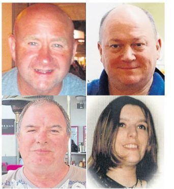 Victims of the Sumburgh crash. Clockwise from top left are Duncan Munro,George Allison,Gary McCrossan,and Sarah Darnley