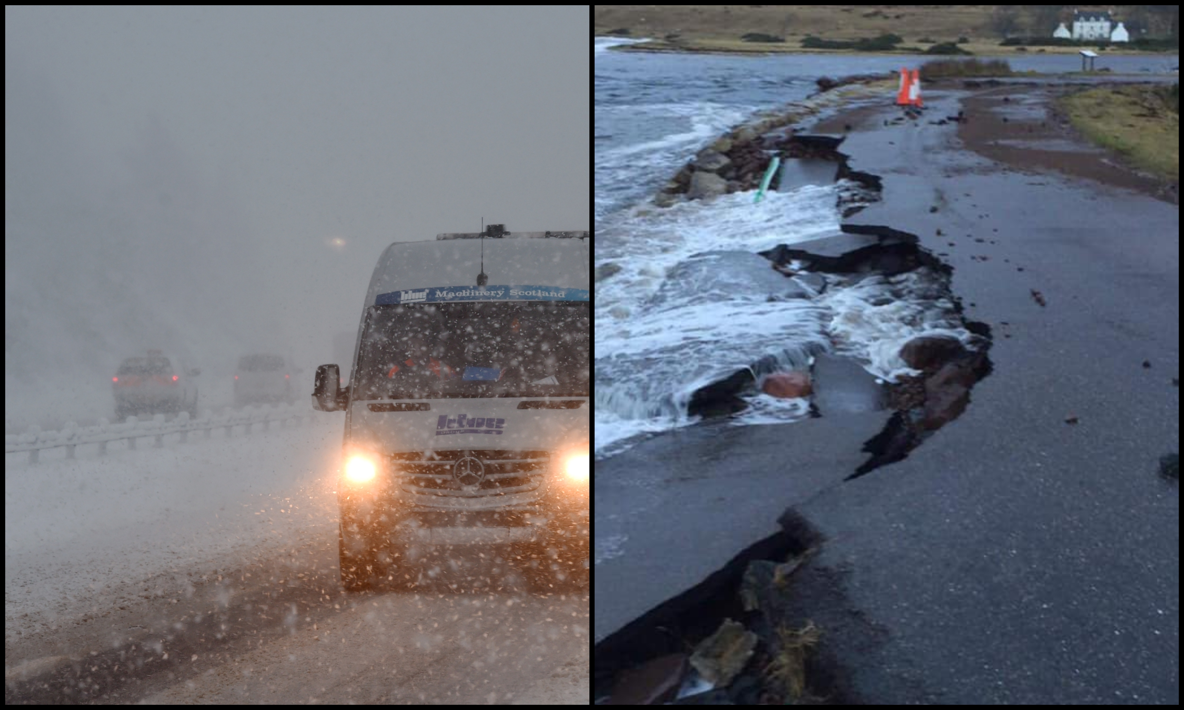 Difficult conditions on the A9 near Carrbridge (left) and the crumbling Applecross Bay road. Pictures by Sandy McCook and Jim O'Hara