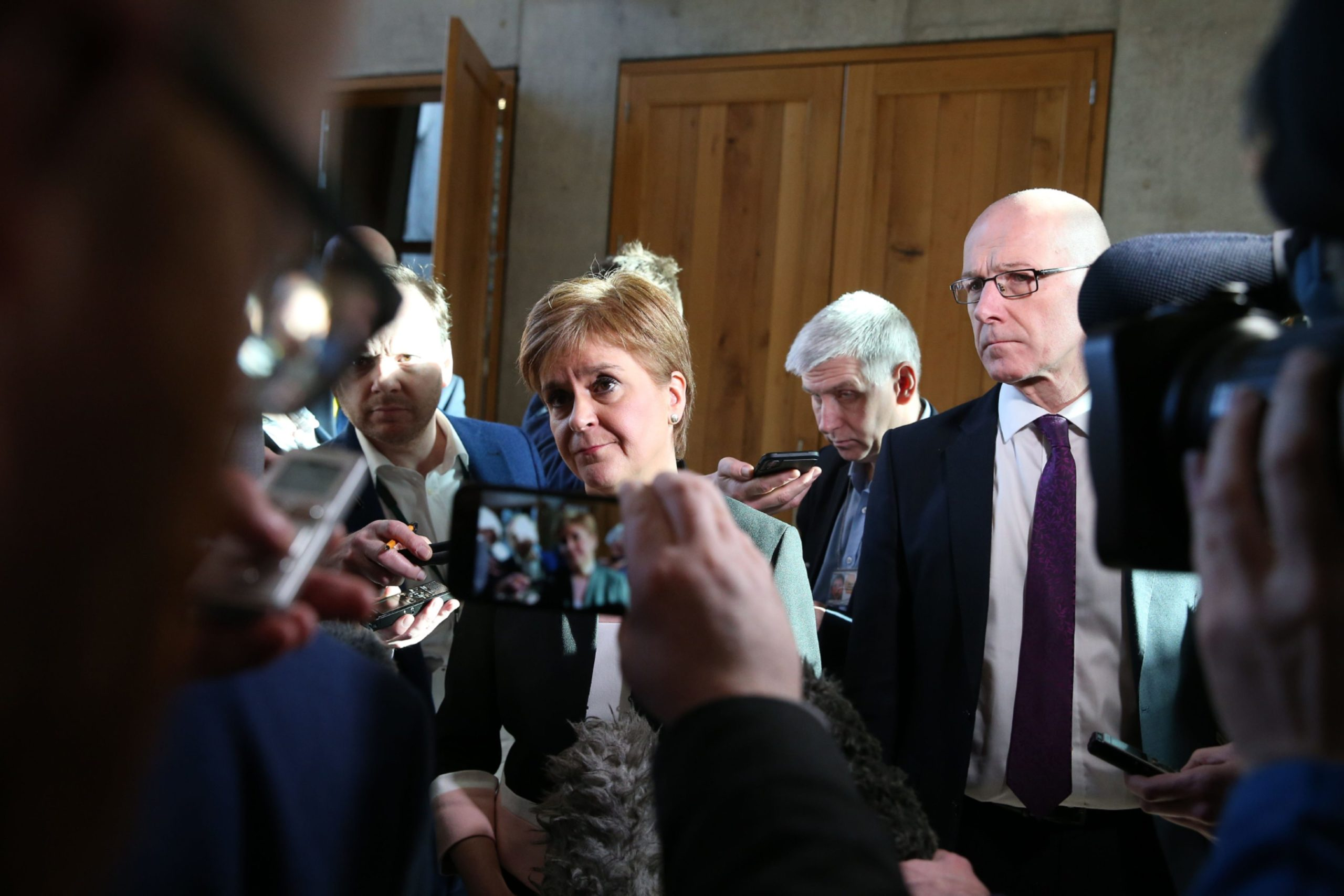 Nicola Sturgeon addresses the media after FMQs to answer questions on Derek Mackay.