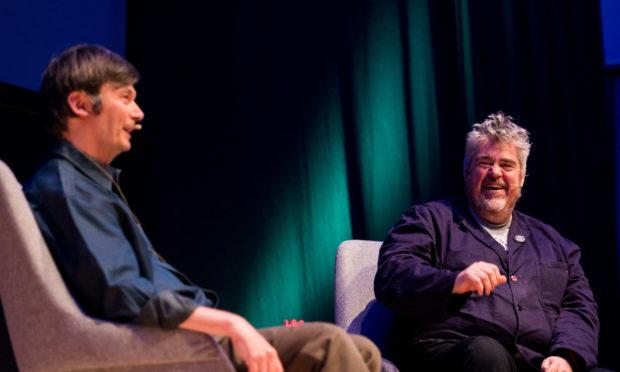 Ian Rankin and Phill Jupitus in conversation at Granite Noir in 2019.