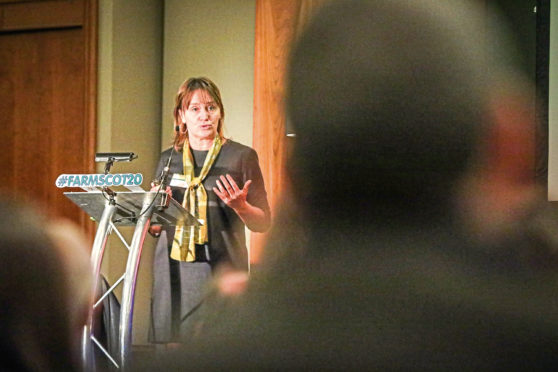 Marion MacCormick speaking at the Farming Scotland conference.