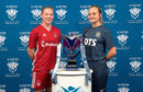 Aberdeen's Francesca Ogilvie and Kilmarnock's Laura Neil at the launch of the new Scottish Building Society SWPL season.