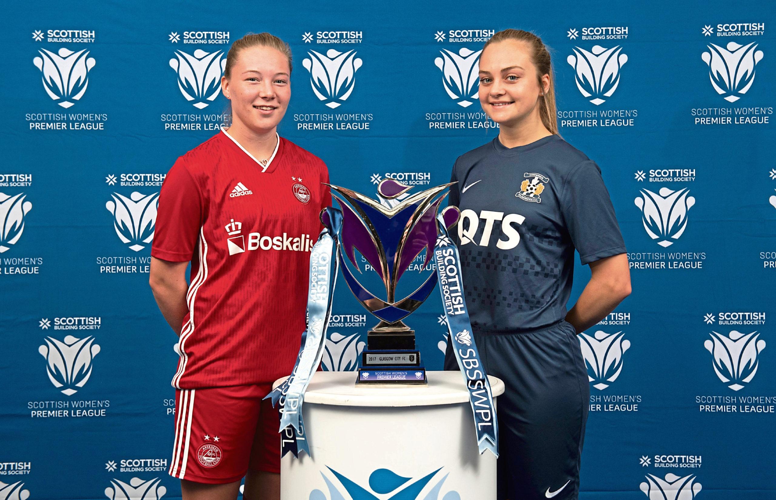 Aberdeen's Francesca Ogilvie and Kilmarnock's Laura Neil at the launch of the new Scottish Building Society SWPL season.