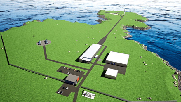 An artist impression of what the Shetland Space Centre site will look like