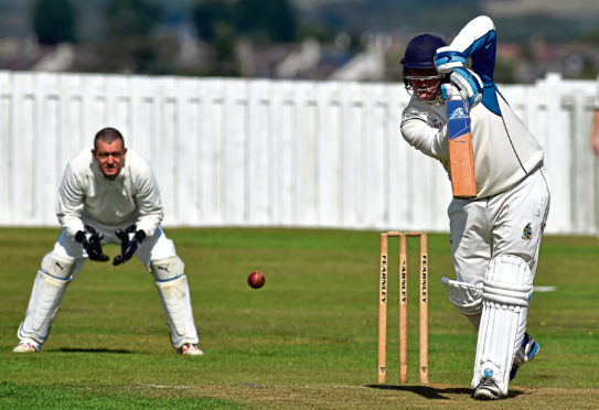 Batsman Jack Mitchell in action for Stoneywood-Dyce. Picture by Kenny Elrick