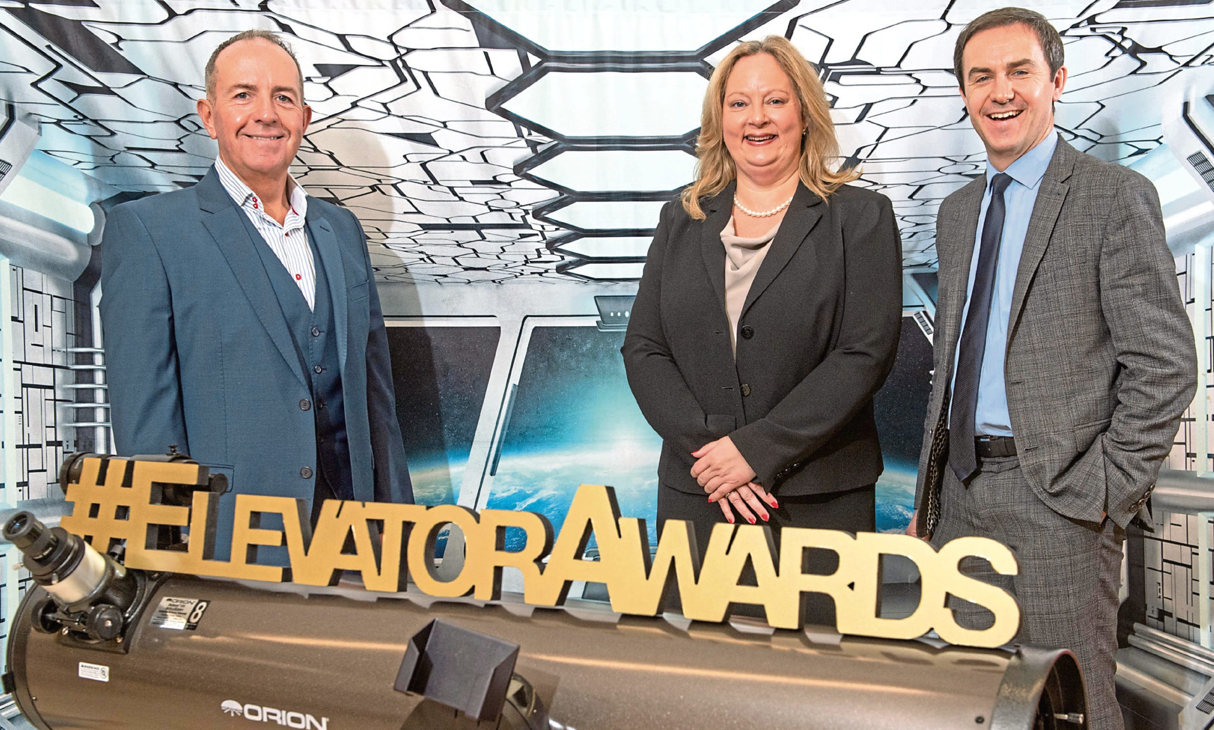 Photo Caption: L-R: Professor Gary McEwan, Elevator CEO, Eileen Tocher Relationship Director, Commercial Banking at Royal Bank of Scotland and Russell Whyte Director, Commercial Banking at Royal Bank of Scotland.