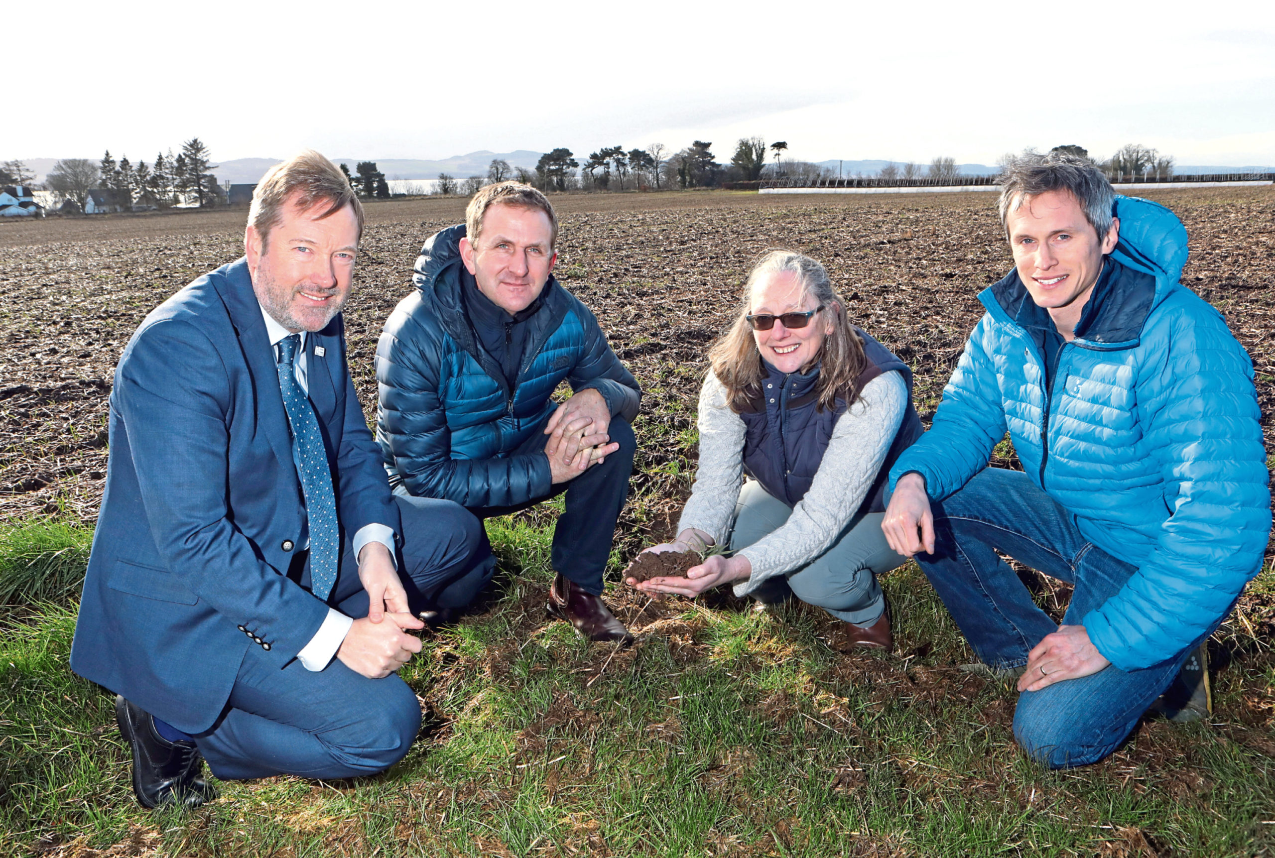 Colin Campbell (chief exec James Hutton Institute), Matt Gorman ( Heathrow director of sustainability), Helaina Black ( James Hutton Institute) and Stuart Arbuckle of Arbuckle fruit farm.
