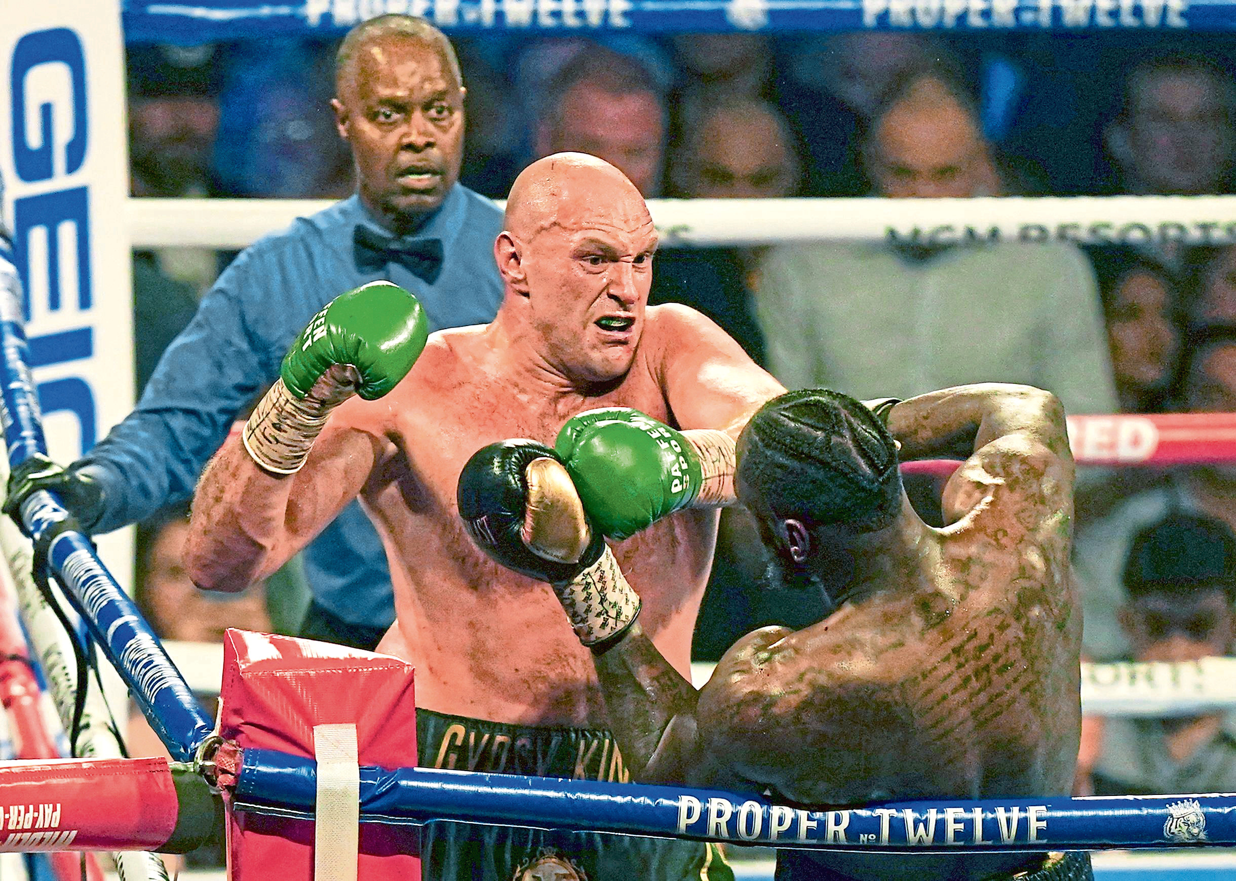Editorial Use Only Mandatory Credit: Photo by Dave Shopland/BPI/REX/Shutterstock (10560953bd) Tyson Fury   beats  Deontay Wilder by TKO in 7th Round Deontay Wilder v Tyson Fury II, WBC heavyweight title, Boxing rematch, MGM Grand, Las Vegas, USA - 22 Feb 2020