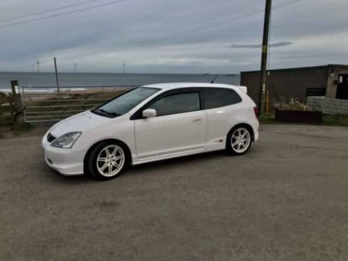 The white Honda Civic Type R was stolen from outside his home on Balgate Mill, Kiltarlity on Sunday.
