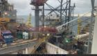 An image showing the collapsed crane from a Valaris drilling rig.