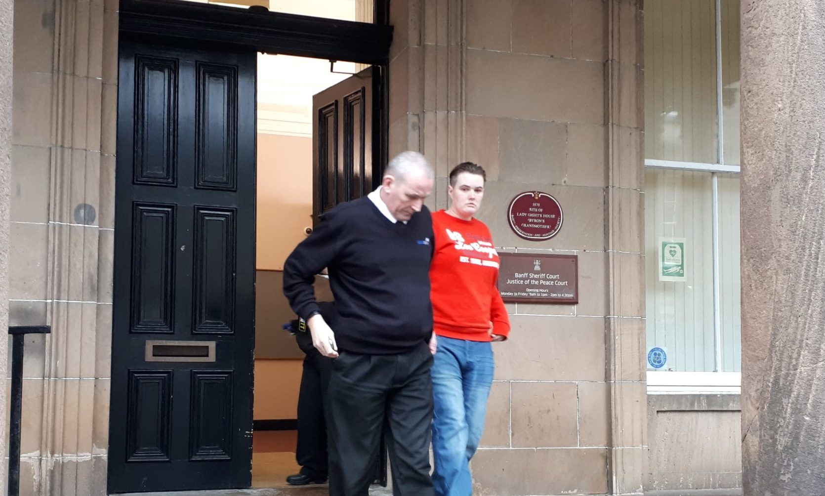 Hannah Souter being escorted from Banff Sheriff Court