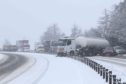 The oil tanker ended up sideways across both carriageways of the A9 at Daviot in heavy snow.