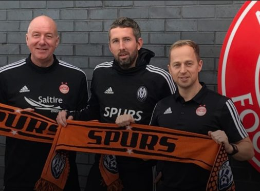 Aberdeen's head of youth development Neil Simpson, Allstars United technical director Andrew McRobbie and Dons head of academy coaching Gavin Levey.
