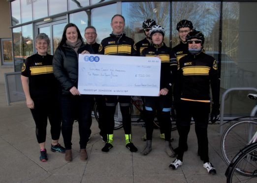 Buchan Dirlers Cycling Club members left to right- Elaine Howitt, Kate Loades, Sandy Whyte, Mark Chapman, John Beckett, Greg Kinnear, Scott McSeveney and Ali Murray.