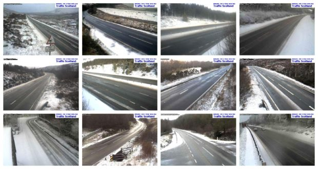 Traffic Scotland cameras show the extent of the snowfall across the north of Scotland.