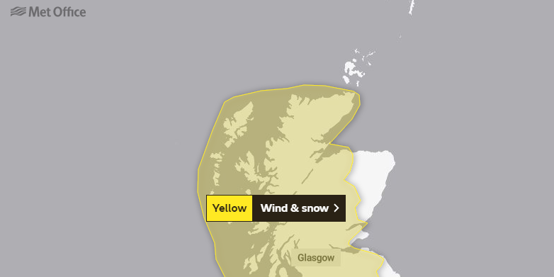 The Met Office has issued a yellow warning for snow and wind across the region.