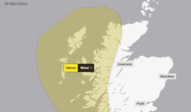 The Met Office have issued a yellow weather warning.