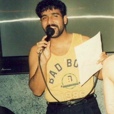 Trevor Lazaro in Chaplins nightclub in 1986