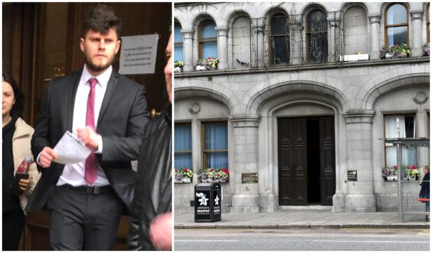 David Edwards leaving Aberdeen Sheriff Court