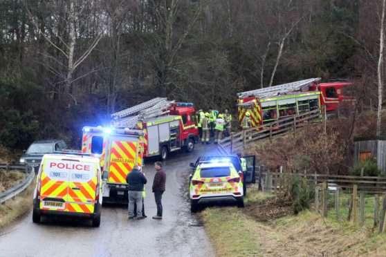Emergency service at the scene of the incident.