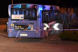 A bus has crashed and ended up on top of the four-mile roundabout in Bucksburn. Picture by Kenny Elrick