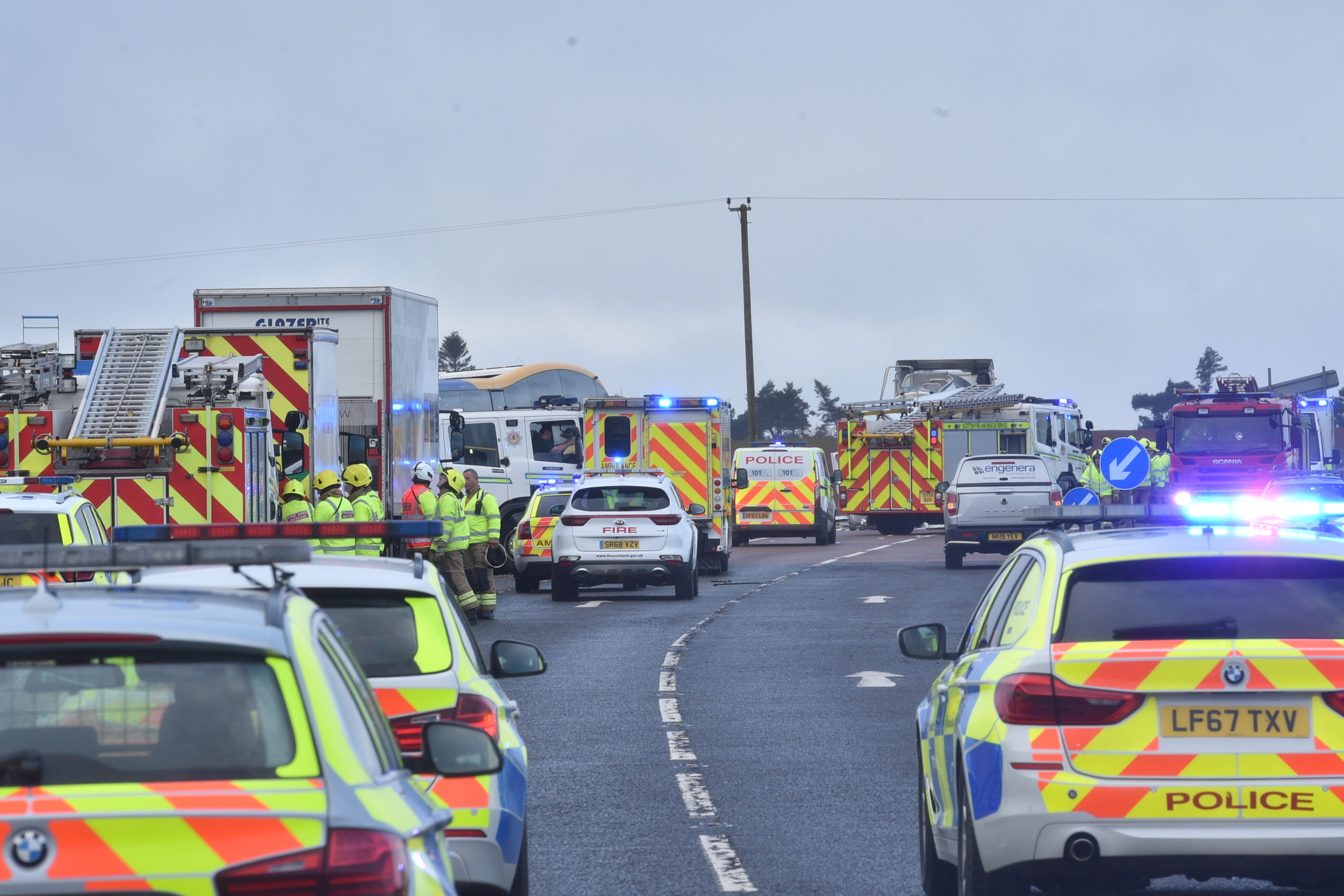 There was milk spilled over the A90 as a result of the accident. Picture by Darrell Benns