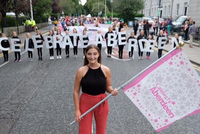 Parade champion Emily Findlay led the 2019 Celebrate Aberdeen parade