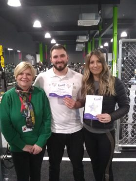 Respitality support worker Ann Brodie (left) alongside staff members from Energie Fitness in Inverurie.