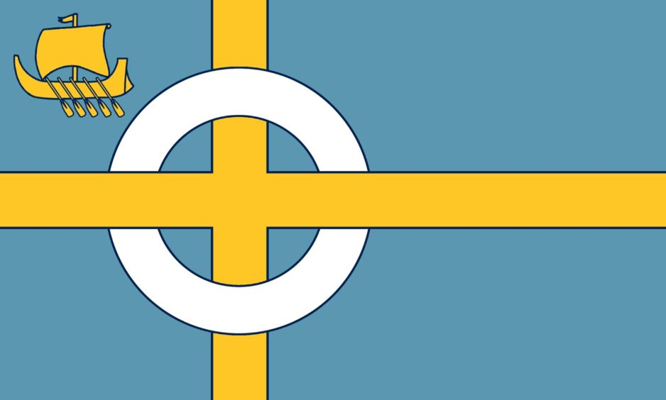 Flag 4: Calum Alasdair Munro from Kilmuir submitted this design highlighting the island's shared Norse and Celtic heritage.