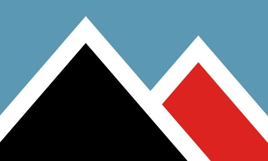 Flag 6: Elgol primary school pupils Isabel Adams and Bethany Macintosh's desin is inspired by the Cuillin and Red Hills.