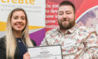 Kitstart founder Gary Souter receives his award from Clarrie Murdoch from Impact Hub Inverness.