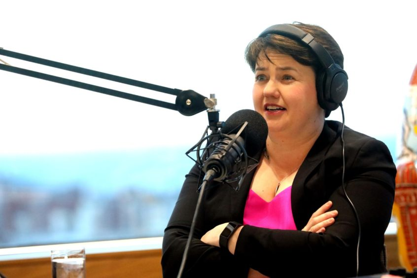Ruth Davidson appearing on The Stooshie podcast.