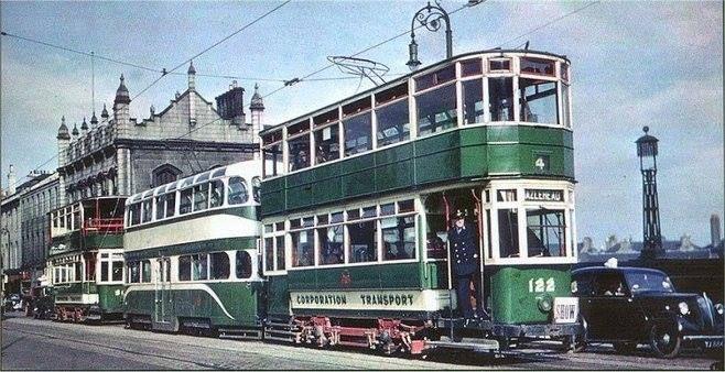 A Hazlehead tram on the streets of Aberdeen.