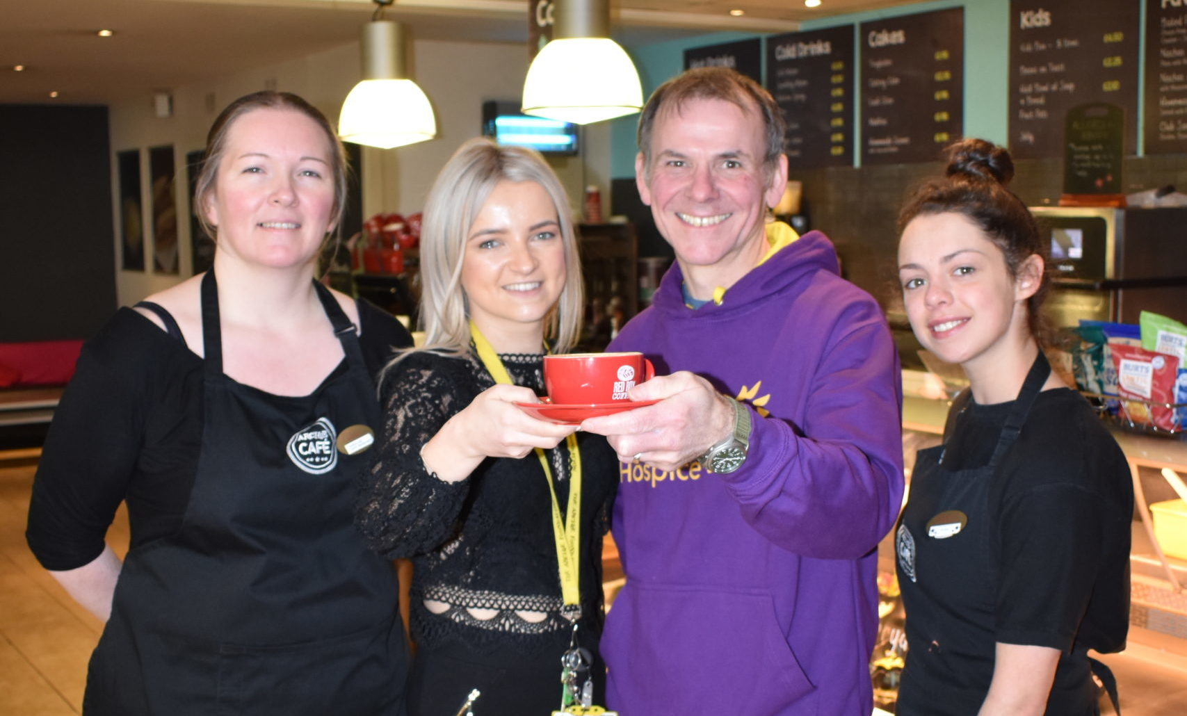 Dawn Cowie, Archie Foundation Fundraiser with Andrew Leaver, Highland Hospice Head of Fundraising and cafe staff members Eilish McGlinn and Caroline Black.