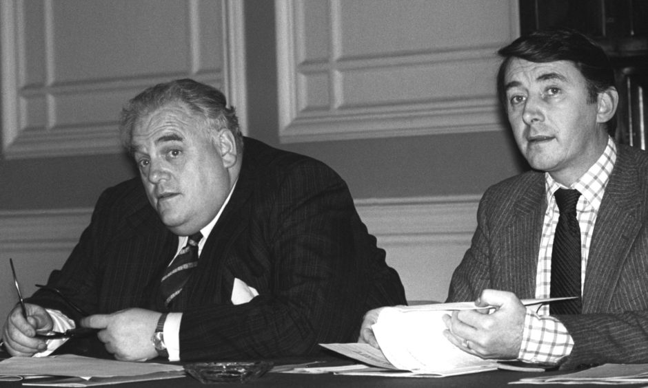 David Steel (right) and Cyril Smith.