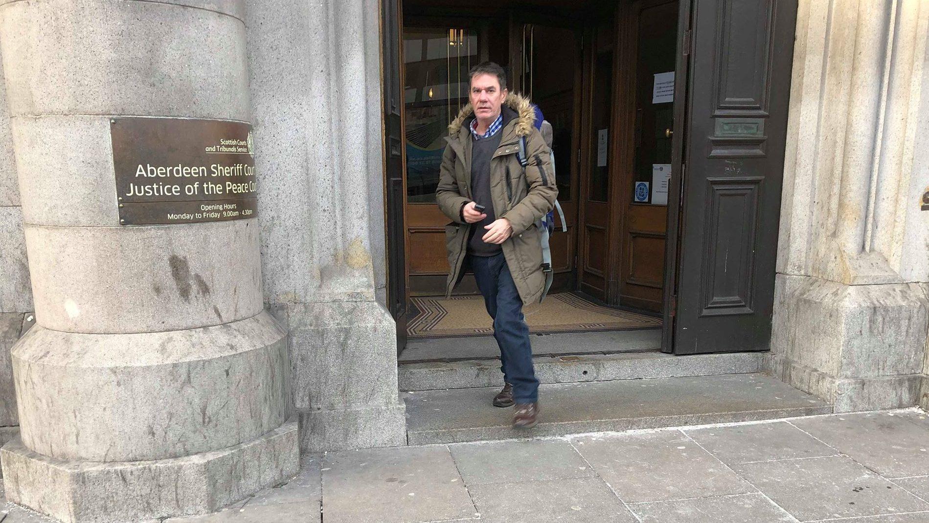 John Doyle leaving Aberdeen Sheriff Court