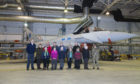 STEM winners are pictured in front of a 6 Squadron Typhoon