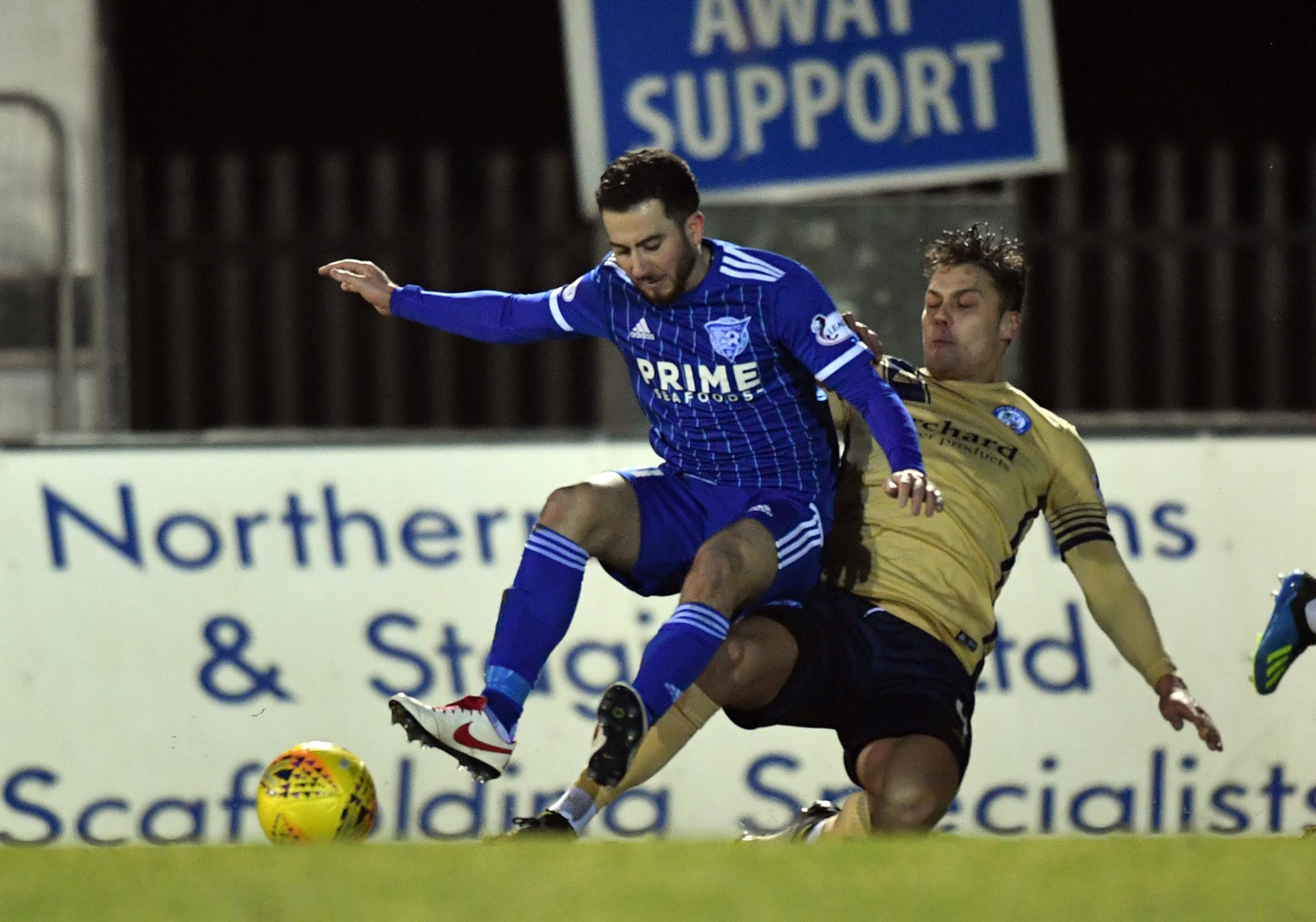 Steven Boyd, left, scored his first goal for Peterhead.
