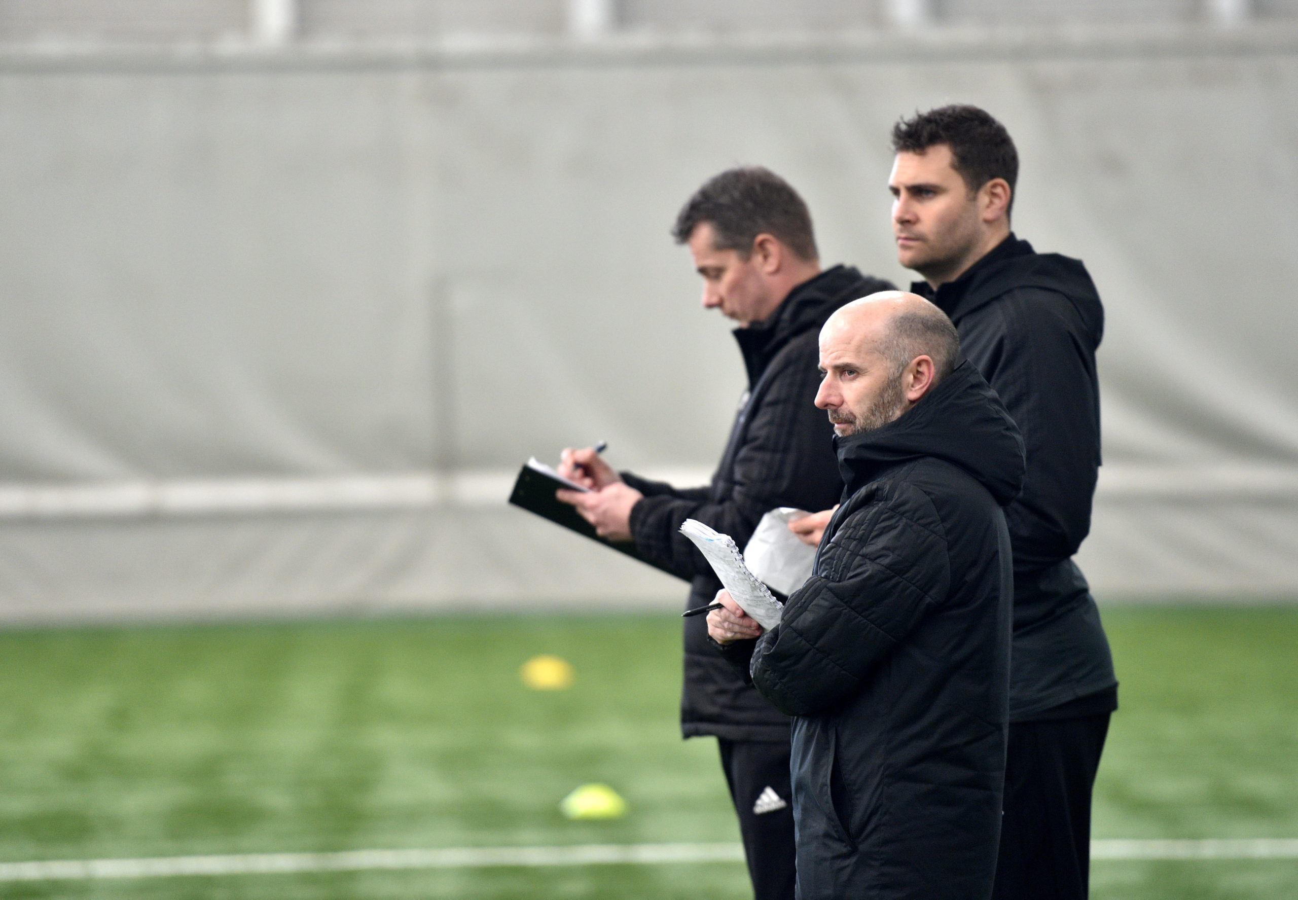 Pictured is Brian McLaughlin, the head of the Performance School programme with Stuart Glennie and Fraser Stewart at Aberdeen Sports Village. Picture by Darrell Benns