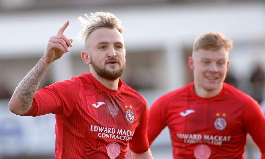 Brora's Paul Brindle scores the winning goal.   Picture by KATH FLANNERY