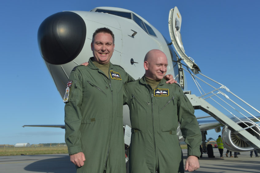 The first P-8 Poseidon plane has arrived at Kinloss Barracks