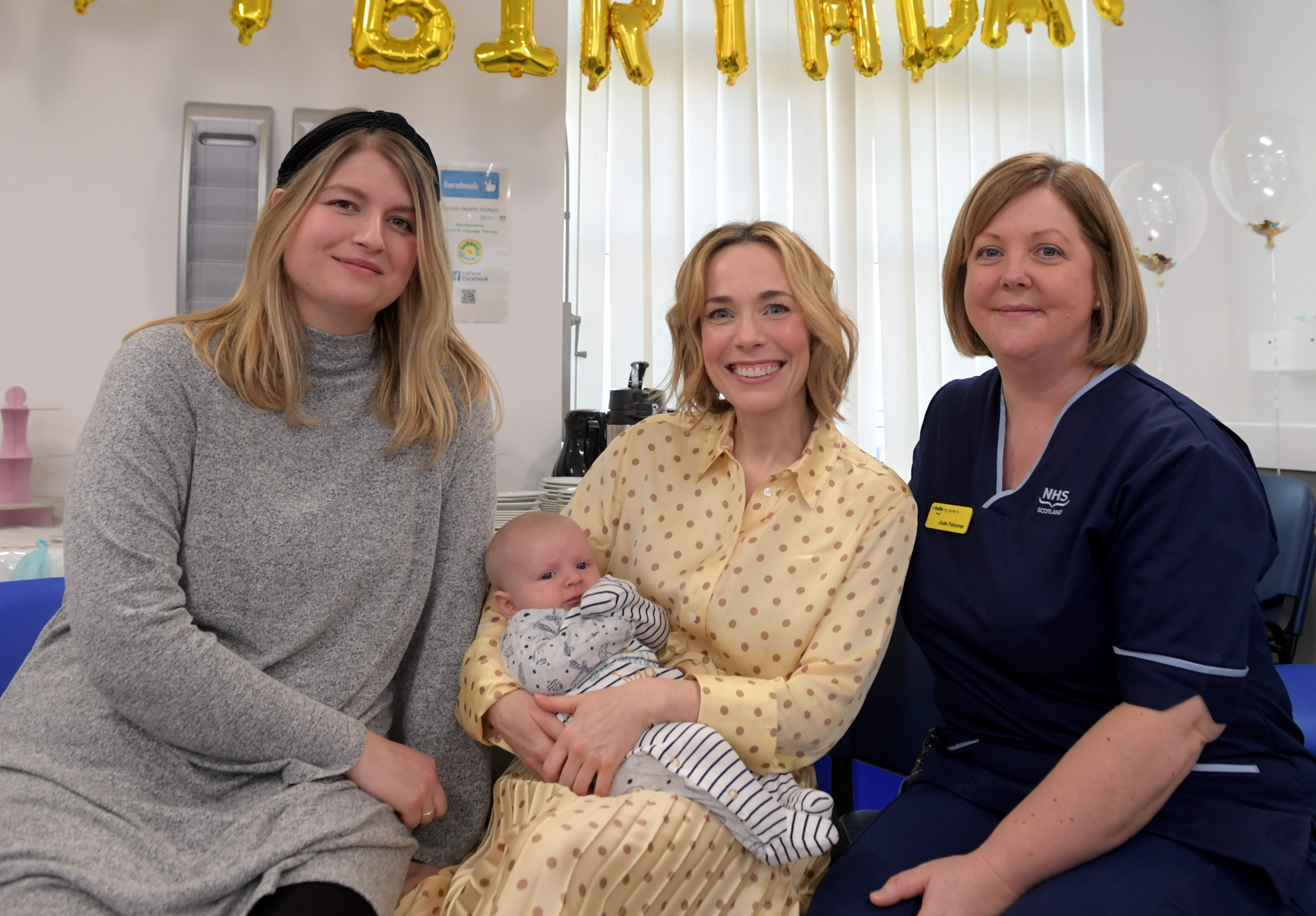 Laura Main holding the most recent arrival Freddie Wallace, with mum Emma Wallace and Jude Falconer who is the Midwifery Team Leader for Central Aberdeenshire.  Picture by Kath Flannery.