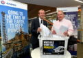 Press and Journal Deputy Editor Andrew Kellock along with CNOOC International MD & Senior VP Europe & Africa Ray Riddoch make the draw for the P&J minibus competition. Picture by Kami Thomson