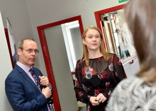 Social Security Secretary Shirley-Anne Somerville and Graham Findlay, Chief Executive, and staff from the charity North East Sensory Services.  Picture by Scott Baxter